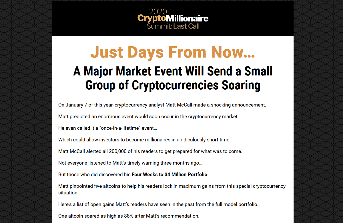 2020 Crypto Millionaire Summit: Matt McCall's Ultimate Crypto Prediction