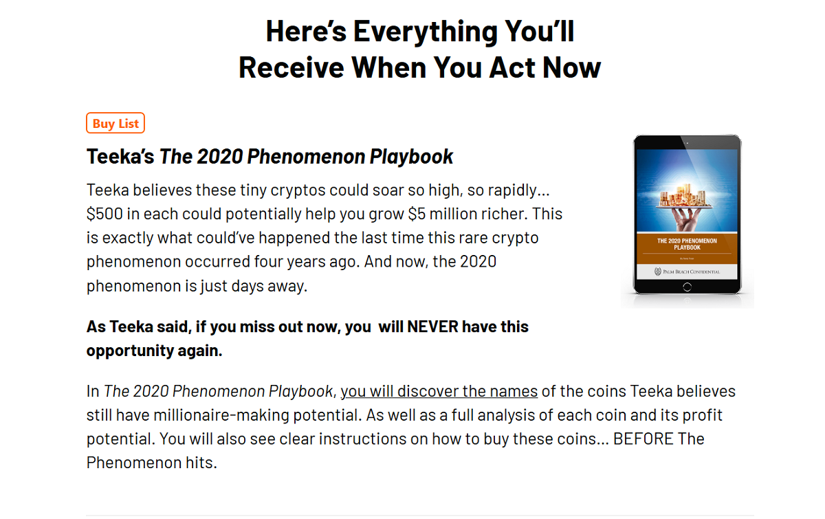 Teeka Tiwari's 2020 Phenomenon Playbook Buy Alert