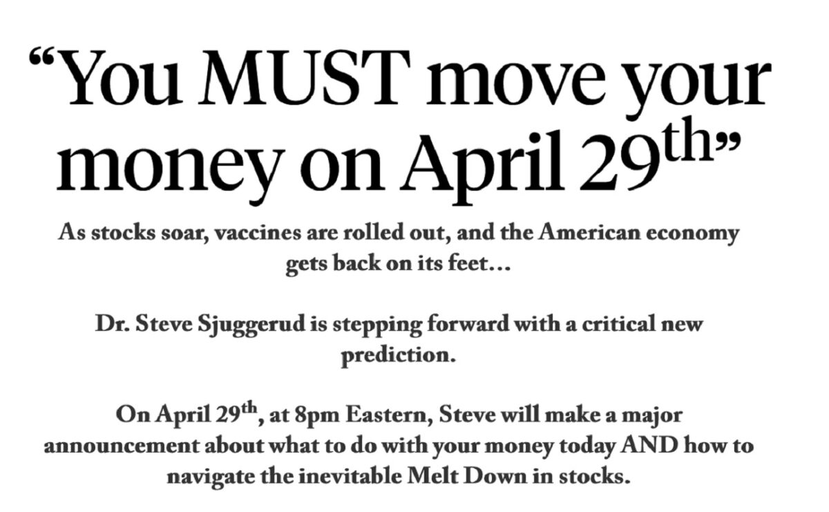 The Final Melt Up by Dr. Steve Sjuggerud: You MUST Move Your Money on April 29th